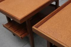 Pair of Two Tier Cork Top Side Tables - 2053564