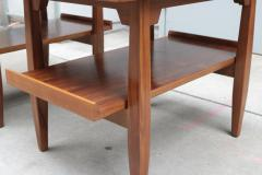 Pair of Two Tier Cork Top Side Tables - 2053565