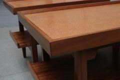 Pair of Two Tier Cork Top Side Tables - 2053569