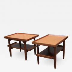 Pair of Two Tier Cork Top Side Tables - 2053905
