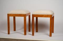 Pair of Uber Chic German Art Deco Stools with Shearling Seats - 1145681