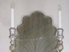 Pair of Venetian Style Silver Gilt Eglomis Glass Candelabra Wall Sconces - 1094280