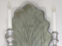 Pair of Venetian Style Silver Gilt Eglomis Glass Candelabra Wall Sconces - 1094282