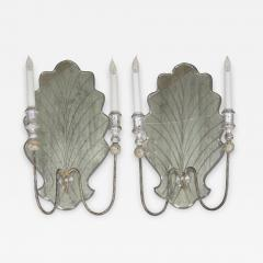 Pair of Venetian Style Silver Gilt Eglomis Glass Candelabra Wall Sconces - 1096455