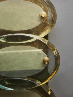 Pair of Vertical Wall Sconces in Brass with Murano Glass Lenses - 1690266