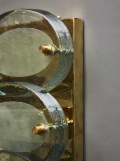 Pair of Vertical Wall Sconces in Brass with Murano Glass Lenses - 1690267