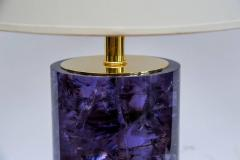 Pair of Vibrant Purple Fractale Resin Table Lamps - 1174484