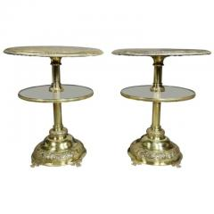 Pair of Victorian Silver Plated and Glass End Tables - 1532291