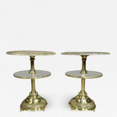Pair of Victorian Silver Plated and Glass End Tables - 1533659