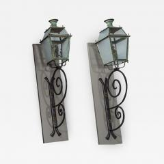 Pair of Victorian Style Iron and Glass Parisian Street Lanterns - 2135378