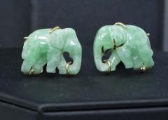 Pair of Vintage Carved Green Jade and Gold Elephant Cufflinks - 1103688