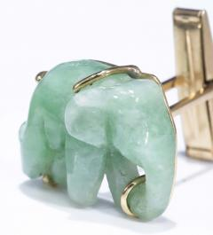 Pair of Vintage Carved Green Jade and Gold Elephant Cufflinks - 1103689
