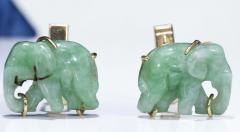 Pair of Vintage Carved Green Jade and Gold Elephant Cufflinks - 1103691