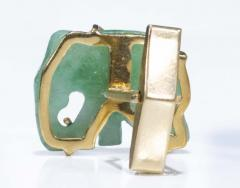 Pair of Vintage Carved Green Jade and Gold Elephant Cufflinks - 1103693