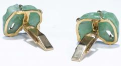 Pair of Vintage Carved Green Jade and Gold Elephant Cufflinks - 1103696