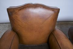 Pair of Vintage French Leather Mustache Club Chairs - 1054589