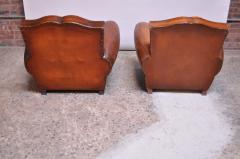 Pair of Vintage French Leather Mustache Club Chairs - 1054590