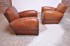 Pair of Vintage French Leather Mustache Club Chairs - 1054591
