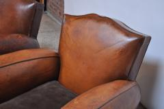 Pair of Vintage French Leather Mustache Club Chairs - 1054592