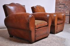Pair of Vintage French Leather Mustache Club Chairs - 1054593