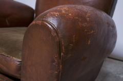 Pair of Vintage French Leather Mustache Club Chairs - 1054594