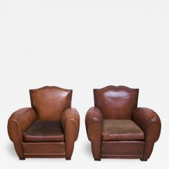 Pair of Vintage French Leather Mustache Club Chairs - 1055003