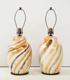 Pair of Vintage Italian Glazed Ceramic Table Lamps c 1970s - 1166959