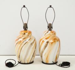 Pair of Vintage Italian Glazed Ceramic Table Lamps c 1970s - 1166960