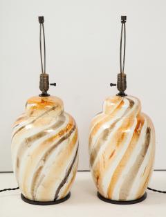 Pair of Vintage Italian Glazed Ceramic Table Lamps c 1970s - 1166962