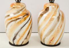 Pair of Vintage Italian Glazed Ceramic Table Lamps c 1970s - 1166963