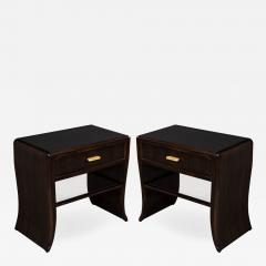 Pair of Water Fall Mozambique and Mahogany Night Stands - 1656561