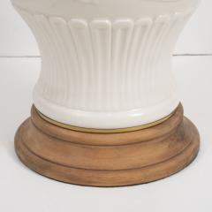Pair of White Ceramic Lamps on Wooden Bases - 1100044