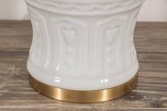 Pair of White Crackled Ceramic Lamps - 1100049