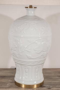 Pair of White Crackled Ceramic Lamps - 1100051