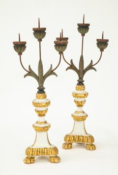 Pair of White Gilt Wood Three Armed Candlesticks - 936903
