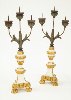 Pair of White Gilt Wood Three Armed Candlesticks - 936904