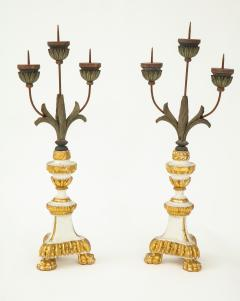 Pair of White Gilt Wood Three Armed Candlesticks - 936907