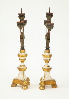 Pair of White Gilt Wood Three Armed Candlesticks - 936909