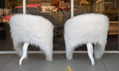 Pair of White Surreal Faux Fur Lounge Chairs - 598323