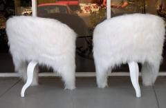 Pair of White Surreal Faux Fur Lounge Chairs - 598324