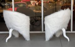 Pair of White Surreal Faux Fur Lounge Chairs - 598325