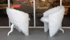 Pair of White Surreal Faux Fur Lounge Chairs - 598326
