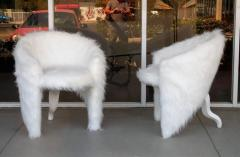 Pair of White Surreal Faux Fur Lounge Chairs - 598327