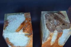 Pair of Wood Stools Encased in Resin - 336707