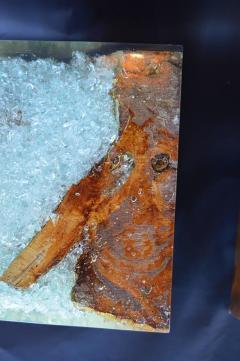 Pair of Wood Stools Encased in Resin - 336709