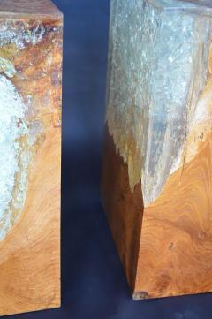 Pair of Wood Stools Encased in Resin - 336712