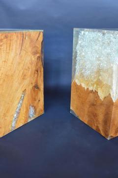 Pair of Wood Stools Encased in Resin - 336713