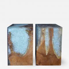 Pair of Wood Stools Encased in Resin - 337196