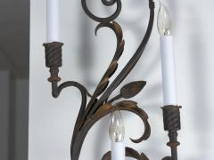 Pair of Wrought Iron Nine Light Candelabra Wall Sconces - 1166780