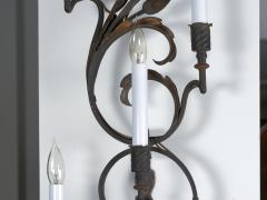 Pair of Wrought Iron Nine Light Candelabra Wall Sconces - 1166782